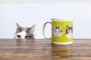 猫の似顔絵マグカップ